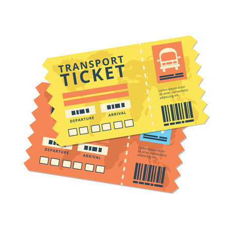 oncept: ticket travel bus icon. World traveller tickets collection. Pattern of boarding pass ticket with code. Concept of travel, journey or business. Isolated on white. Vector illustration