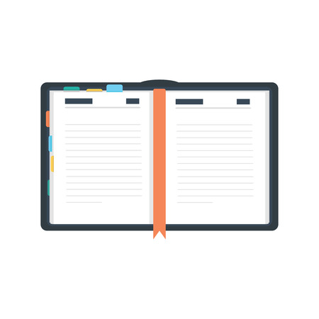 open diary: Open diary, planner or notebook illustration in flat style.