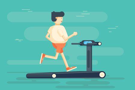 Man character runs on treadmill.