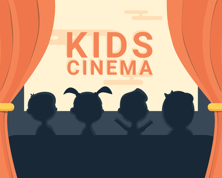 moviehouse: Kids cinema black and white silhouette and text