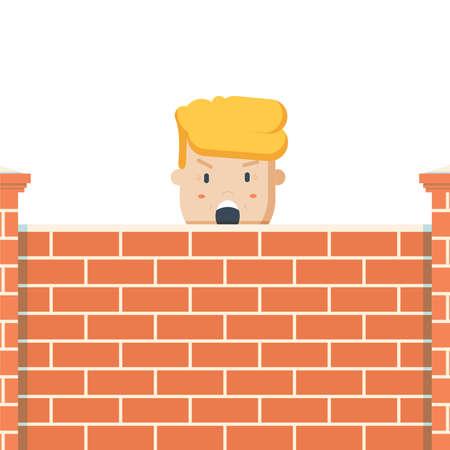 erect: Donald Trump behind a brick Wall. Vector flat illustration of the President Illustration