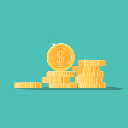 illustraion: Coins stack vector illustration, flat coin money stacked