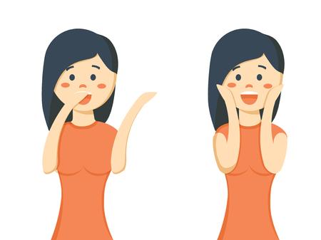 Surprised beautiful woman smiling Illustration