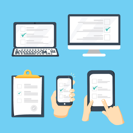 Online survey, checklist set. Hand holds tablet, computer, mobile and finger touch blank screen. Иллюстрация