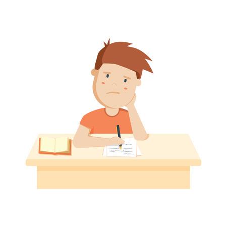 Bored kid doing homework or sitting on boring school lesson. Illustration