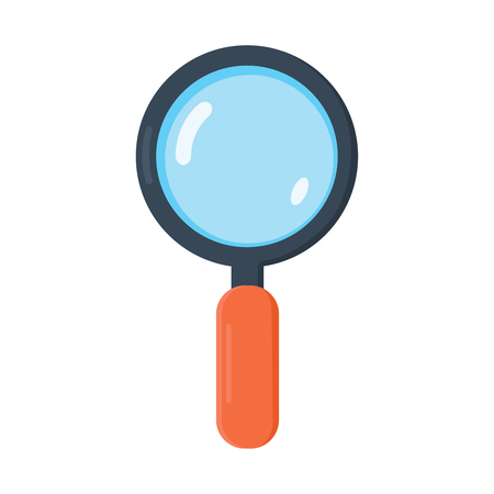 wite: Magnifying Glass, Isolated On White Background, Vector Illustration. Flat Design vector icon.