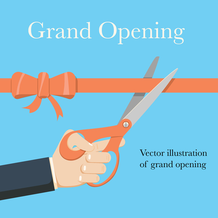 Grand opening concept. Businessman holding pair of scissors in hand cuts red tape. Illustration