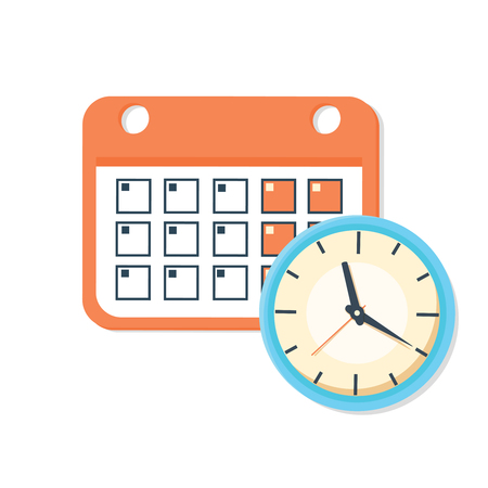 appointment: Vector calendar and clock icon. Schedule, appointment, important date concept.