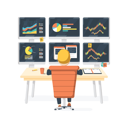 Stock market exchange trader working selling and buying equity sitting at desk with six displays Иллюстрация