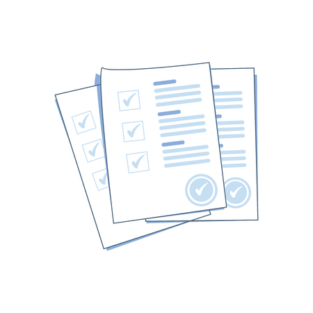 Survey or exam form paper sheets pile with answered quiz checklist and success