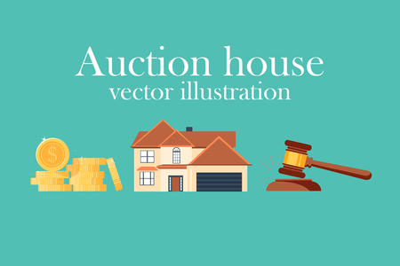 Auction house. Concept bidding on home. Gavel, house, cash, coins isolated on background.