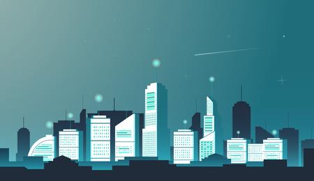 City skyline vector illustration. Urban landscape. Blue city silhouette. Иллюстрация