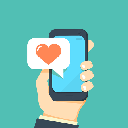 Hand holding smartphone with heart emoji message on screen, like button. Love confession, like. Social network and mobile device. Graphics for websites, web banners. Flat design vector illustration. Иллюстрация