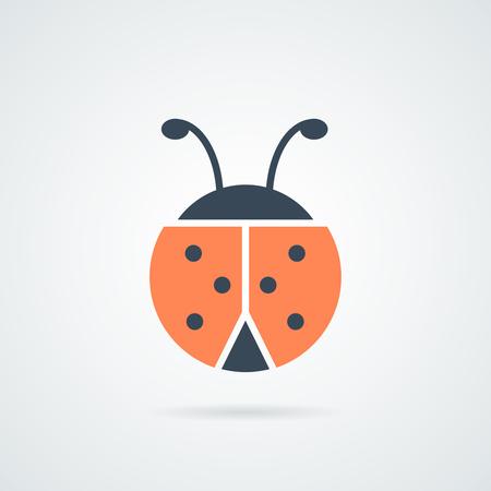 ladybird icon vector illustration.Ladybug icon. Ladybird insect sign. Flying beetle bug symbol. Icons in colour circle buttons. Vector illustration