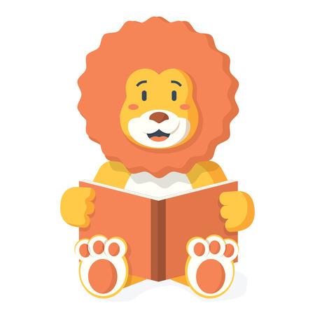 lion reading book. Lion Smiling Bookworm Zoo Character Wearing Glasses And Reading A Book Cartoon Illustration Illustration