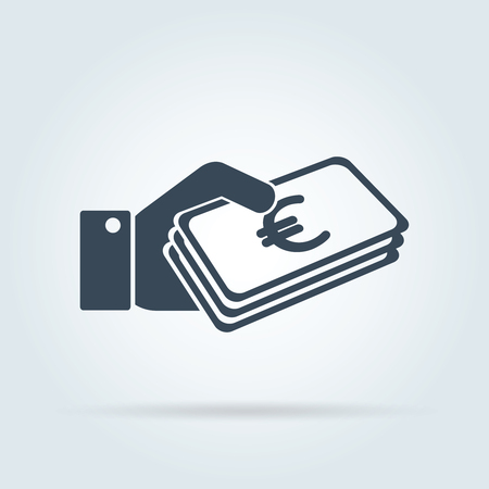 Money icon - Euro. Euro and cash, coin, currency, bank symbol. Flat design. Stock - Vector illustration Иллюстрация
