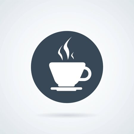 Simple round vectour icon of coffee cup. Illustration with a circle icon of hot cup