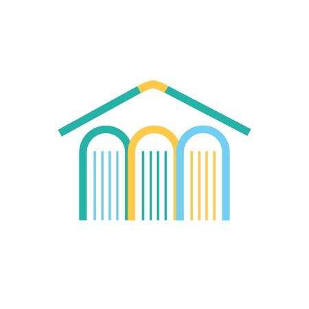Vector book and house logo concept. Publisher or library concept. Vector logo template