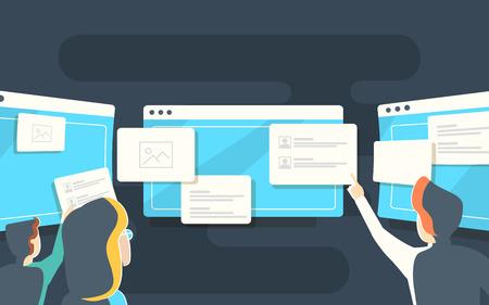 Responsive web design flat vector, web design technology. Web concept website development. Иллюстрация