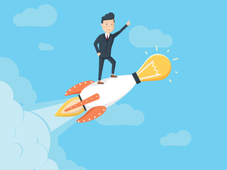 Happy businessman standing on rocket ship with idea light bulb flying through the sky.