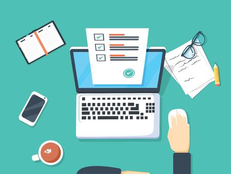 Encuesta de formulario en línea en la ilustración de vector de portátil, persona que trabaja en la computadora