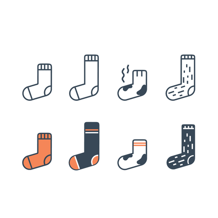 Socks line icons set. Different type of length, color and material. Иллюстрация