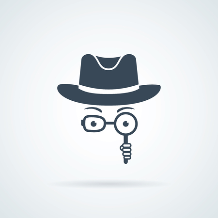 Unknown man in hat, spectacles and a magnifying glass in hand. Inspector. Ilustração