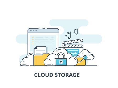 Computer device data cloud storage security flat design vector illustration.