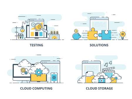 Modern flat color line designed concepts icons for Testing, Solution, Cloud Computing and Cloud Storage. Иллюстрация