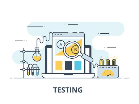 Software testing flat icon. Software testing vector illustration. Flat design. Software testing successful Иллюстрация