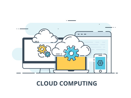 line design web banner for cloud computing services and technology, data storage. Vector illustration concepts for web design, marketing, and graphic design. Иллюстрация