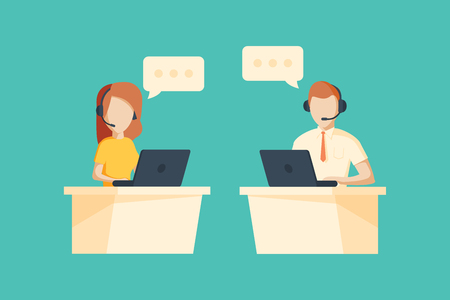 Male and female operator with headset working at call center.