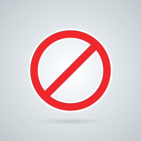 Prohibition road sign vector illustration. Stop icon. Иллюстрация
