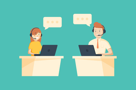 Smiling male and female operator with headset working at call center.