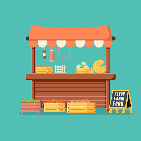 Traditional wooden market food stall full of groceries products with flags, crates and chalk board. Illustration