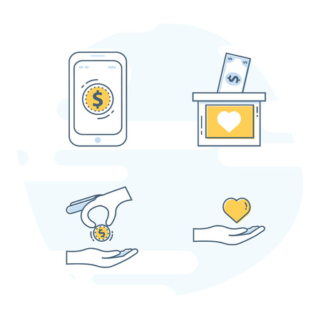 Flat line set icon concept for Nonprofit Organizations, Donation or Charity Centre. Fundraising and Crowdfunding Symbols. Vector illustrations.