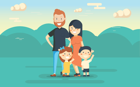 Fun family in the park. Rest at nature. Vector illustration in a flat style