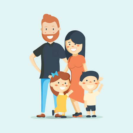 Big family together. Vector illustration in a flat style