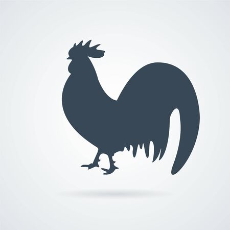 hen icon. Simple flat Rooster icon. silhouette of chicken or rooster. design element for advertising fast food or restaurant and shop menu