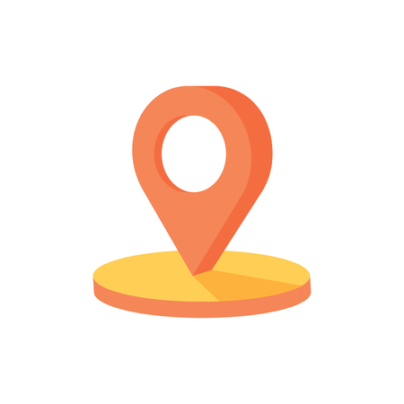 Map point 3d, Isometric pin icon on the navigation map for positioning travel and transport, flat map geotag pointer sign.