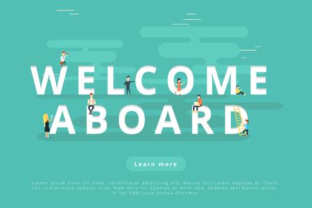 웹 및 모바일 앱 프리젠 테이션을 환영하는 사람들 일러스트