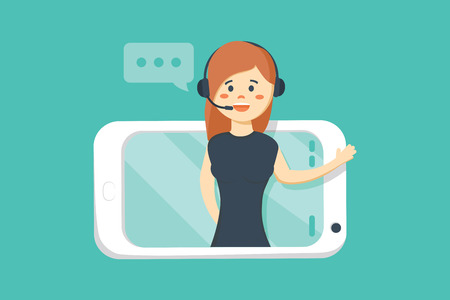 Smiling female operator with headset speaking from screen of a smart phone. Customer service concept. Иллюстрация