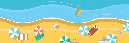 Summer beach with umbrellas and towels. Panoramic background banner. Top view.
