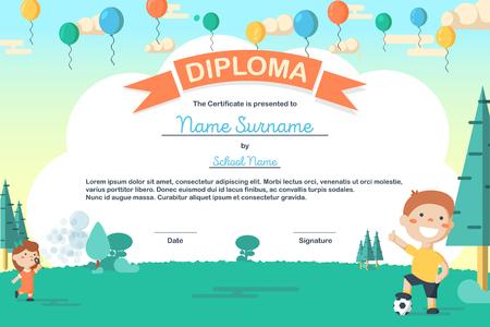 Kleurrijke kinderen zomerkamp diploma certificaatsjabloon in cartoon stijl met jongen en een voetbal