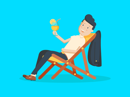 Cartoon Businessman Relaxing on Vacation with Tropical Cocktail. Summer Holidays. Vector illustration