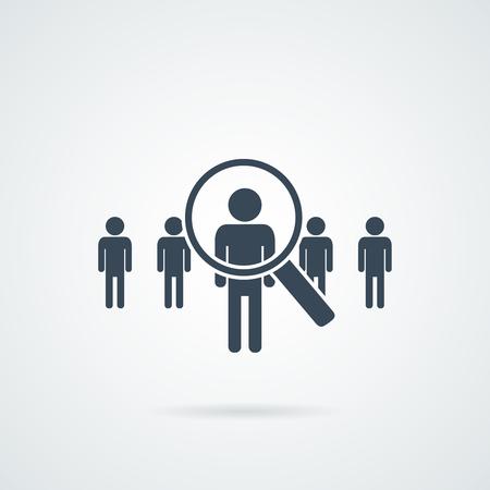 mensen zoeken vector pictogram. Abstracte mensen silhouet in de vorm van meer magnifier. Ontwerpconcept voor zoeken naar werknemers en werk, bedrijf, human resources en professionele headhunting, sociaal netwerk.