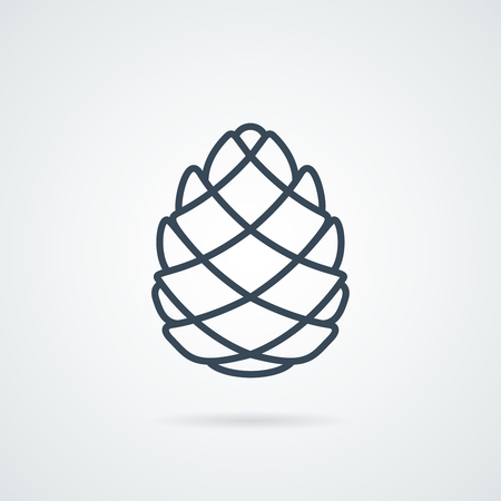 Pinecone Line Icon Vector illustration. Pine cone botanical logo isolated on background with a shadow. label cone Easy to use template  イラスト・ベクター素材