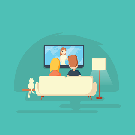 Watching TV at home. Man, woman and cat.Vector llustration