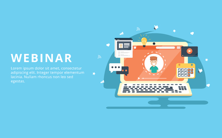 Webinar, internet conference, web based seminar flat design concept with icons