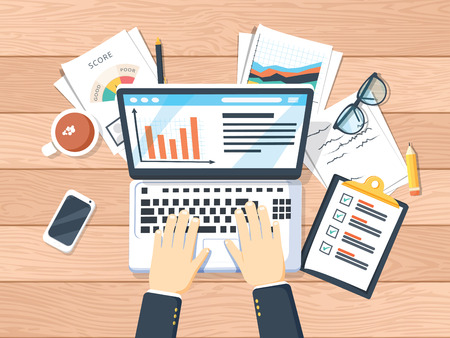 Businessman working on laptop. Hands on laptop and computer mouse, documents, forms, notebook, coffee, notes, pen. Work place, analytics, optimization, management. Top view wooden office work desk Иллюстрация